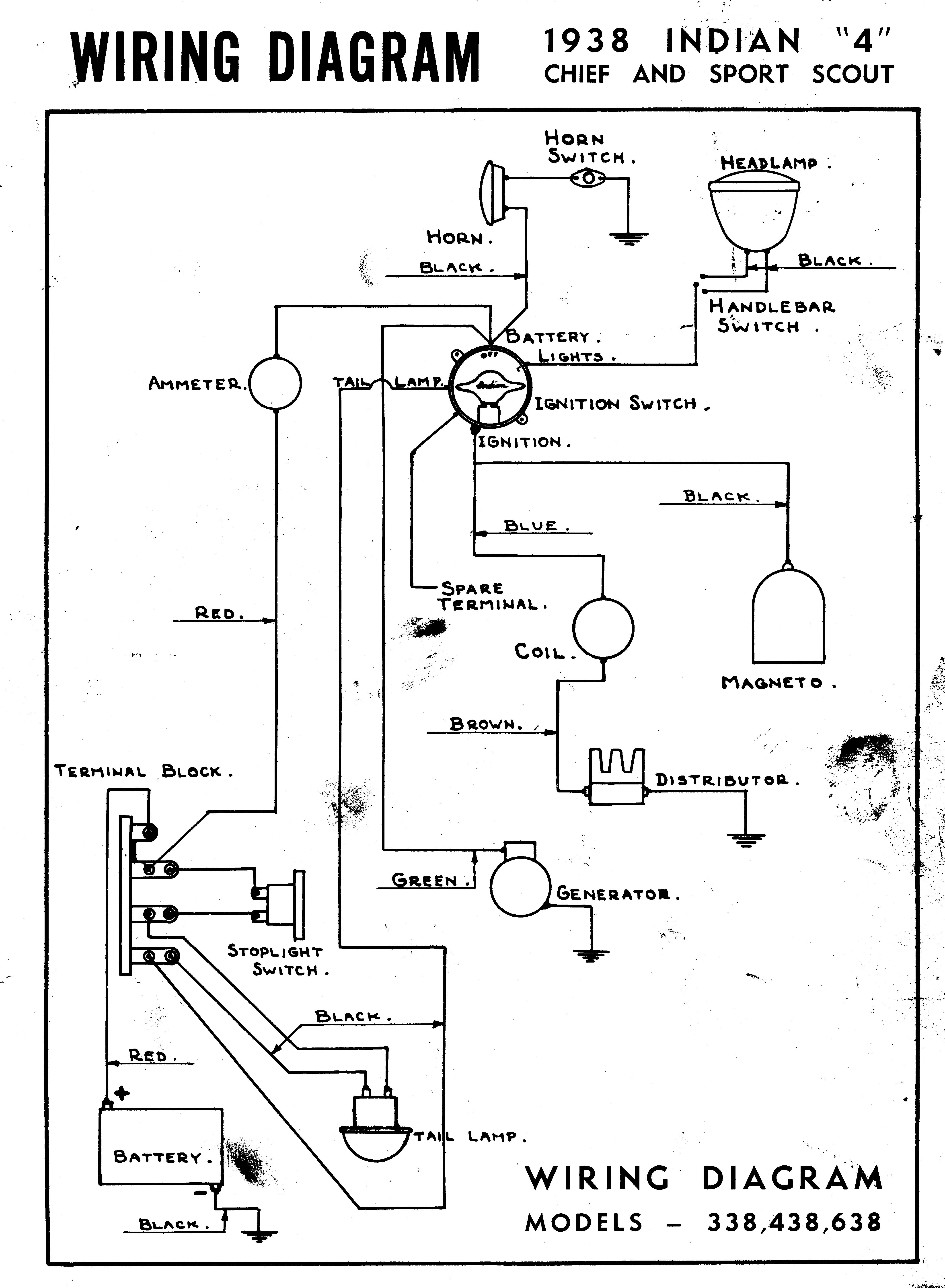 1938 wire diagram - chief - scout - four - starklite indian motorcycles  starklite indian motorcycles
